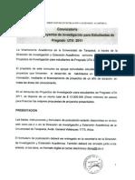Proyectos Investigación Estudiantes de Pregrado 2011