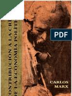 Contribución a la crítica de la economía política, Marx