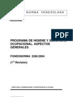 Programa de Higiene y Seguridad Ocupacional