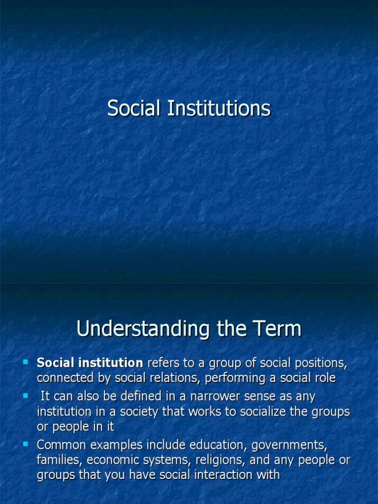 what is an example of a social institution
