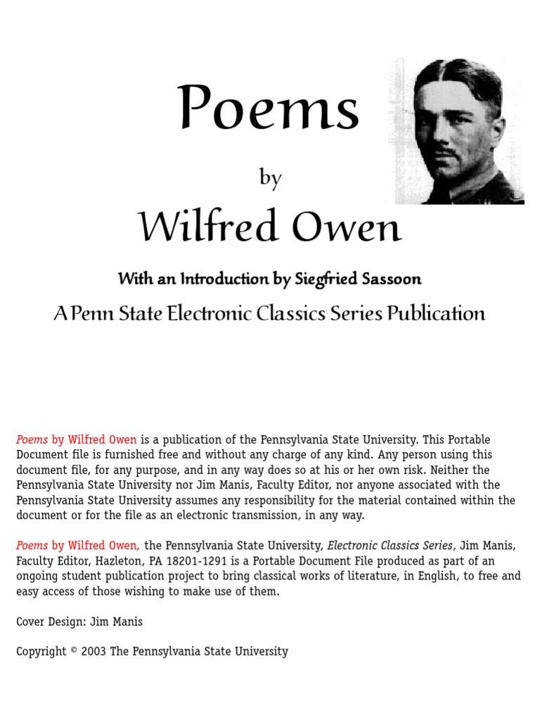 Wilfred Owen Poems Poetry Nature