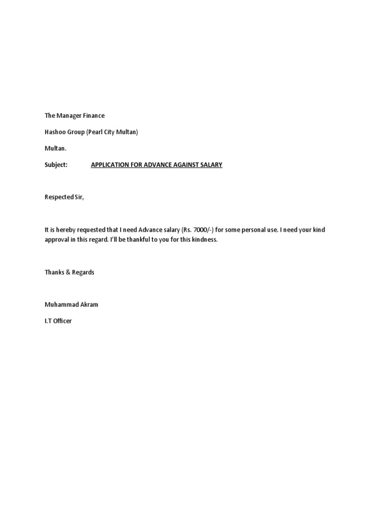 Advance Payment Letter Format To Client. Application for Advance Salary
