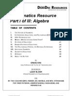 Math Resource Part I - Algebra