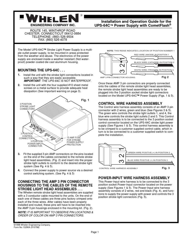 whelen power supply wiring diagram whelen ups 64c electrical connector power supply  whelen ups 64c electrical connector