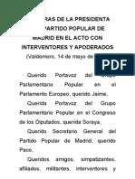 Palabras de Esperanza Aguirre en el mitin de Valdemoro