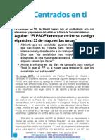 Nota de prensa del mitin de Esperanza Aguirre en Valdemoro