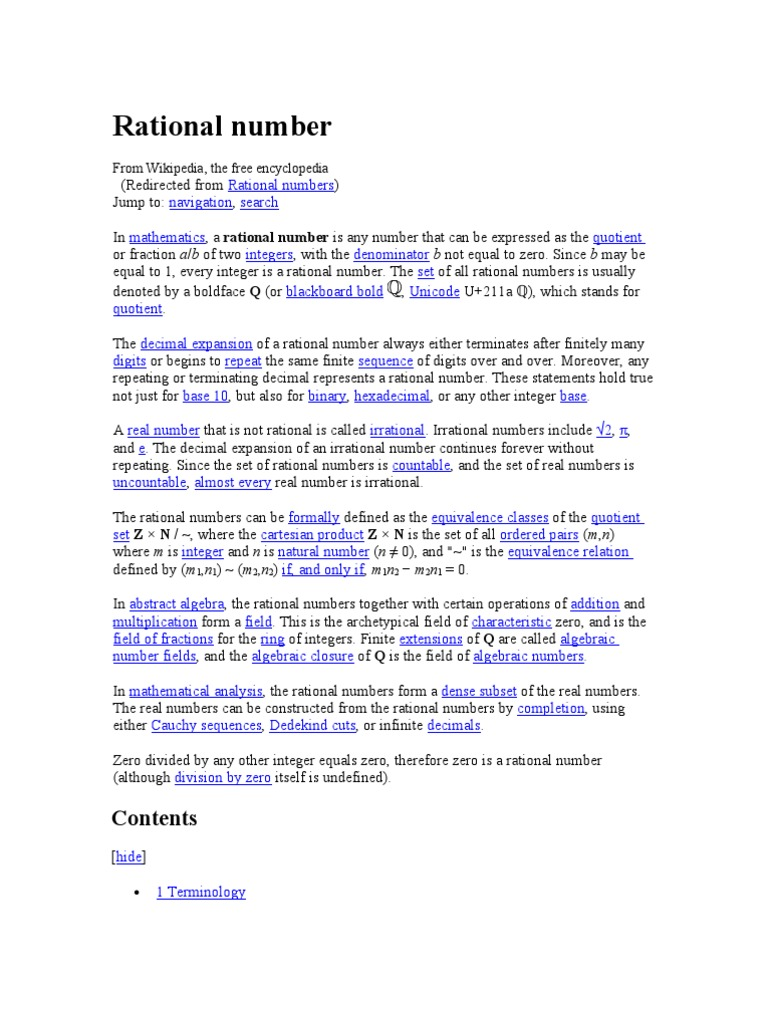 Rational Number Rational Number Numbers