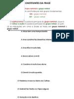 Grupo Nominal e Grupo Verbal - Constituintes Da Frase
