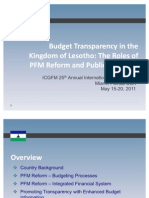 Budget Transparency in the Kingdom of Lesotho