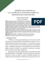 La policrítica de Cortázar. La autonomía de la literatura entre las exigencias de la revolución. Jaume Peris Blanes