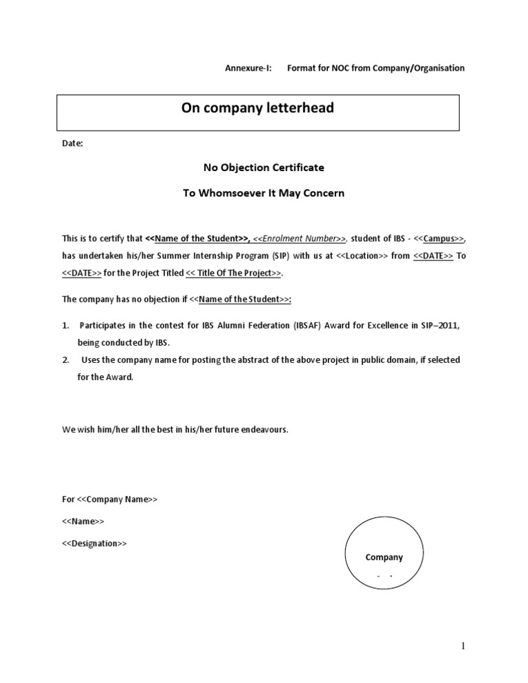 Noc Letter Format From College For Internship.  Format of NOC