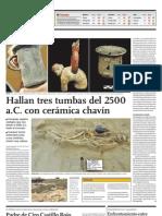 Hallan tres tumbas del 2500 a.C. con cerámic Chavín