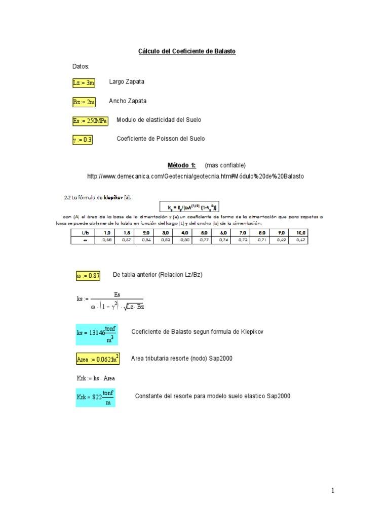 Calculo Coeficiente De Balasto