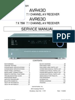 47167240 Harman Kardon Service Manual for AVR 430 and AVR