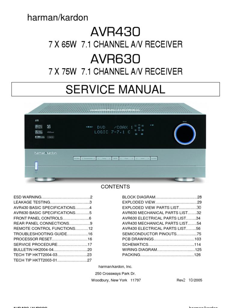 47167240 harman kardon service manual for avr 430 and avr 630 rh es scribd com harman kardon avr 255 service manual & repair guide Service ManualsOnline