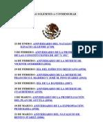 Fechas Solemnes a Conmemorar en Mexico
