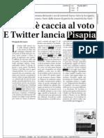 SUL WEB E' CACCIA AL VOTO E TWITTER LANCIA PISAPIA  (TERRA)