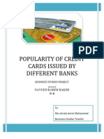 39465292 Popularity of Credit Cards Issued by Different Banks