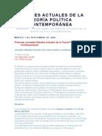 Debates Actuales de la Teoría Política Contemporánea