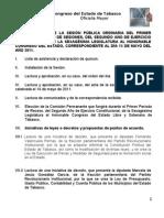 Orden del día de la Sesión Pública Ordinaria del día 15 de mayo de 2011