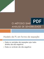O Metodo Simplex e Analise de Sensibilidade