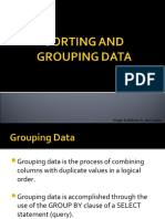 Sorting and Grouping Data