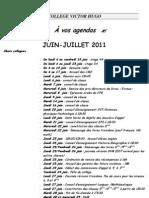 Planning juin-juillet 2011