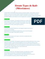 Les différents types de kufr