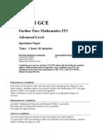 GCE FurtherMaths Specimen Paper Mkscheme