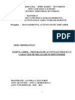 Referat - Managementul de Timp Liber, Gavrila Dan Sorin , An i , Sem i, 2010-2011, Masterat