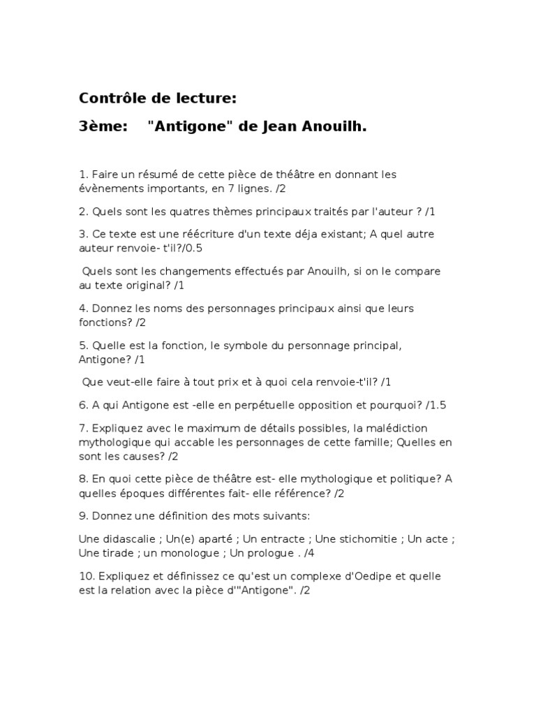 Contrôle Anouilh