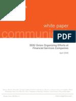 (Morgan Lewis) SEIU Union Organizing Efforts at Financial Services Companies