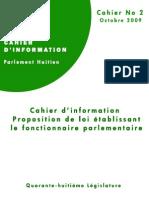 Proposition de Loi Etablissant Le Fonctionnaire Parlementaire
