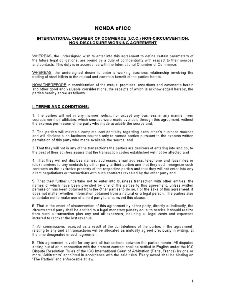 NCNDA Agreement Sample For Draft Agreement Between Two Parties