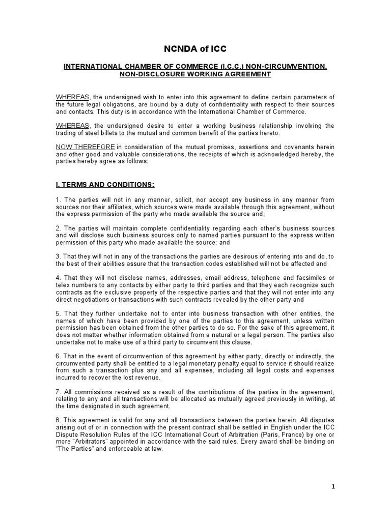 Ncnda Agreement Sample