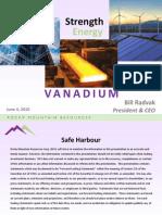 The Strength and Energy of Vanadium