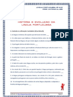 História e Evolução da Língua Portuguesa - exerc. V-F e escolha múltipla