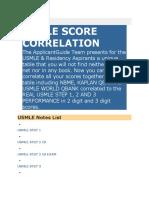 Usmle Score Correlation