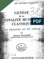 Machabey, Genèse de la tonalité musicale classique