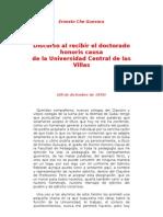 Discurso Al Recibir El Doctorado Honoris Causa de La Universidad Central de Las Villas