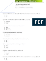 Dreamweaver Basics Online Quiz