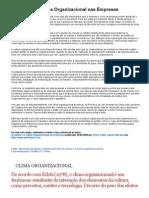 A Cultura e o Clima Organizacional Nas Empresas