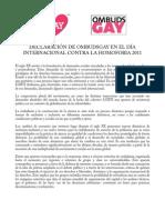Declaración de Ombudsgay en el Día Internacional contra la Homofobia (IDAHO) 2011
