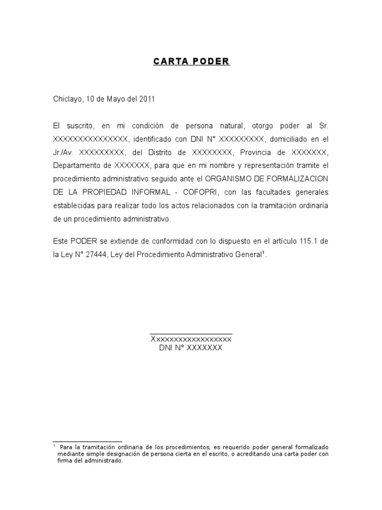 Carta poder para tramite administrativos - Tramites legales para alquilar un piso ...