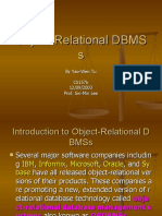 Object Relational DBMSs