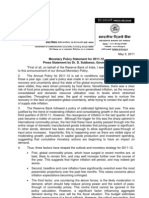 Reserve Bank of India Monetary Policy Statement 2011-12 Press Statement by Governor