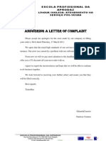 Trabalho de Pares- Answering a Letter of Complaint