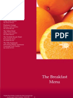 English Rose Hotels Breakfast Menu