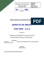 Ex. Procedura - Aspecte de Mediu SMM