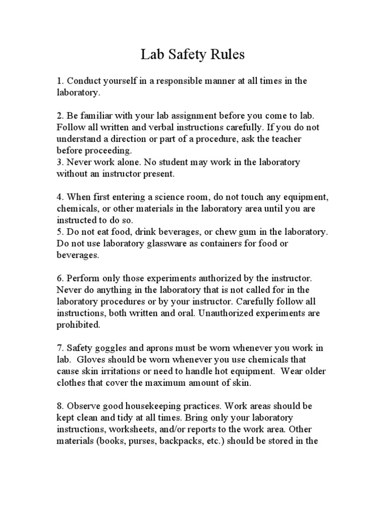 Lab Safety Rules Laboratories – Science Safety Rules Worksheet